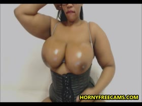 Huge Boobs Ebony Pounds Pussy And Asshole