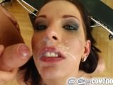 Cum For Cover Skinny Brunette's Cocksucking Facial Fest