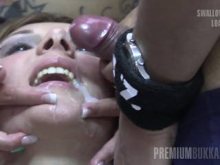 Premium Bukkake – Michelle Swallows 83 Huge Mouthful Cumshots